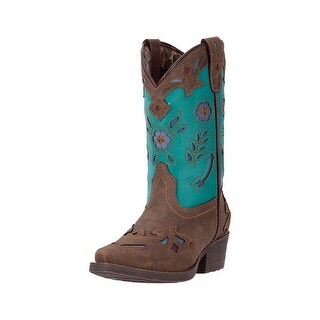 Laredo Western Boots Girls Kate Cowgirl Faux Snip Toe Green LC2288