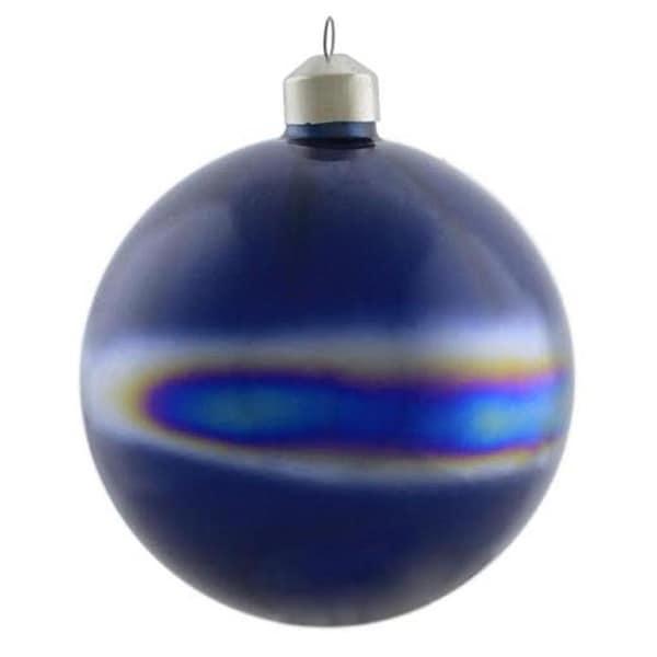 """4.75"""" Winter Light Elegant Blue Marblized Glass Ball Christmas Ornament"""