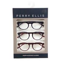 Perry Ellis Mens 3 Multi Pack Metal Reading Glasses +2.0 Blk/Trt/Brn PEBX25, Includes Perry Ellis Pouch - Black