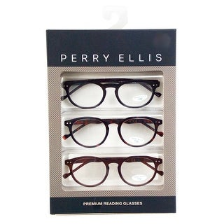 Perry Ellis Mens 3 Multi Pack Metal Reading Glasses +2.0 Blk/Trt/Brn PEBX25, Includes Perry Ellis Pouch - Black