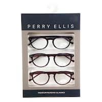 Perry Ellis Mens 3 Multi Pack Metal Reading Glasses +2.5 Blk/Trt/Brn PEBX25, Includes Perry Ellis Pouch - Black