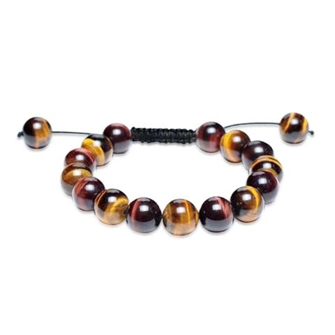 Brown Tiger Eye Round Beads Shamballa Inspired Bracelet For Women Black Cord String Adjustable