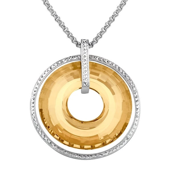 Crystaluxe Circle Pendant with Honey Swarovski elements Crystals in Sterling Silver