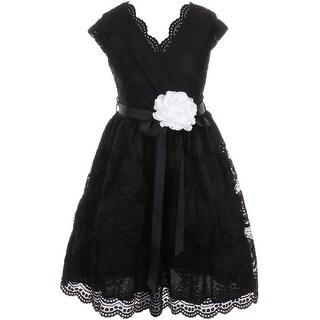 Flower Girl Dress Curly V-Neck Rose Embroidery AllOver Black JKS 2066