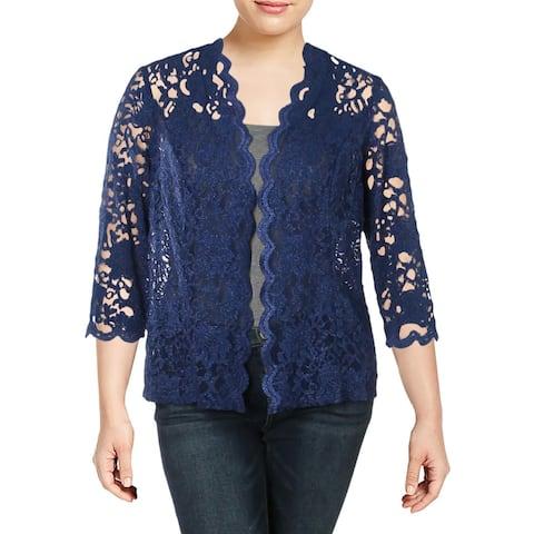 R&M Richards Womens Plus Jacket Lace Glitter