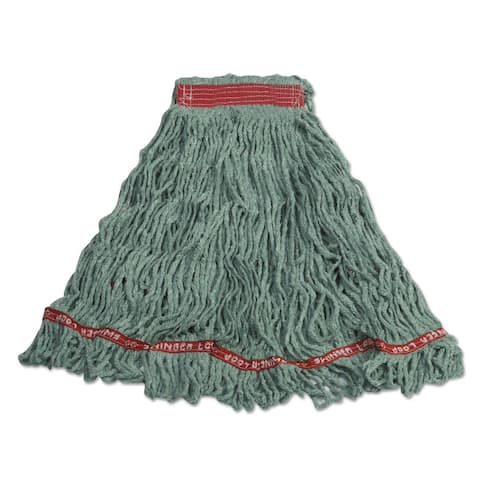 "Rubbermaid C11306GR00 Tailbanded Loop Wet Mop Green With 1"" Red Headband, Cotton/Synthetic Yarn"