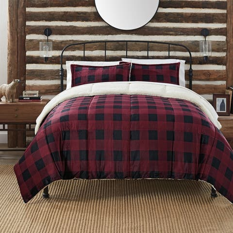 Serta Cozy Plush Buffalo Plaid 3 Piece Comforter Set