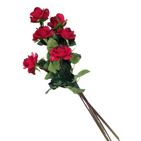 """Caroline Rose Real Touch Red 27"""" Set of 6 Artificial Stems - 27"""