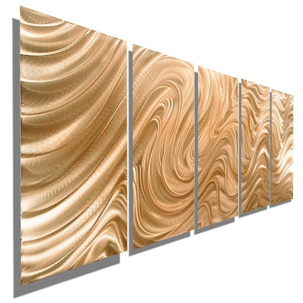 Statements2000 Copper Modern Abstract 3D Metal Wall Art Panels by Jon Allen - Copper Hypnotic Sands