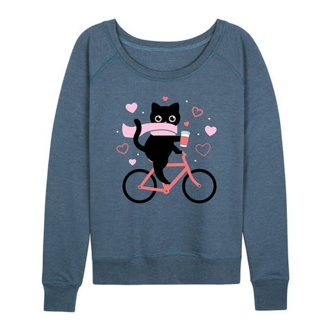 Cat On Bike Hearts - Women's Lightweight French Terry Pullover