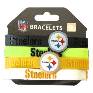 Pittsburgh Steelers NFL Silicone Rubber Wrist Band Bracelet Set of 4