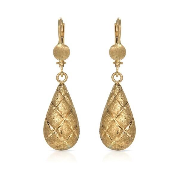 Mcs Jewelry Inc 10 KARAT YELLOW GOLD LEVERBACK DROP DANGLING EARRINGS 37MM