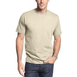 John Ashford Short Sleeve Crewneck T-Shirt Tee Delhi Khaki Beige Small S