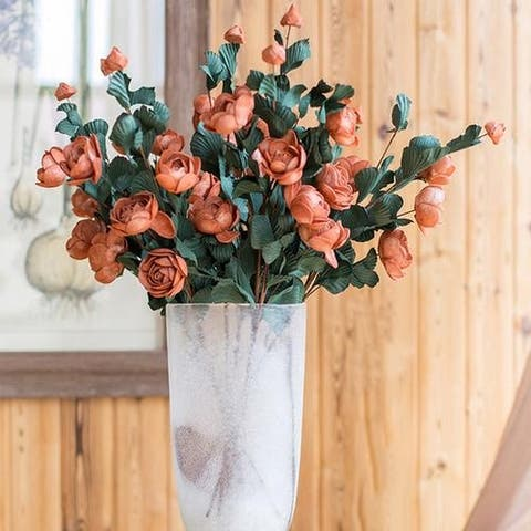 """RusticReach PE French Rose Bloom Stem in Red 25"""" Tall (Set of 5)"""