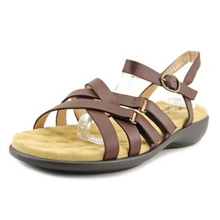 Walking Cradles Sleek Women W Open-Toe Leather Brown Slingback Sandal