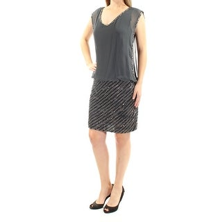 Womens Gray Sleeveless Above The Knee Blouson Evening Dress Size: 10