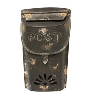 "Distressed Black Post Box 11"""