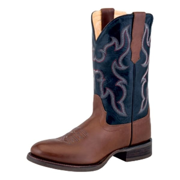 Old West Cowboy Boots Men Broad Round Block Light Burnished Pecan