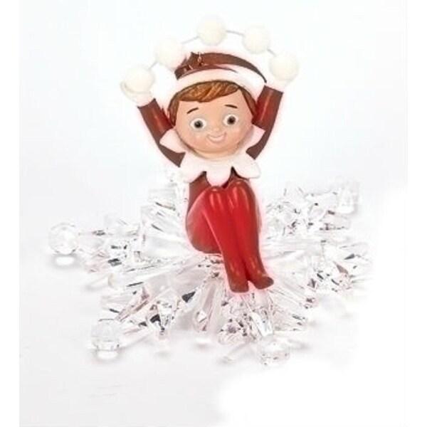 "4"" Elf on the Shelf Boy Snowflake Ride Christmas Ornament - RED"