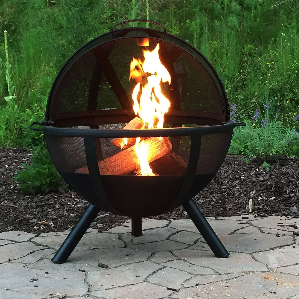 Thumbnail 1, Sunnydaze 30 Inch Sphere Flaming Ball Fire Pit with Protective Cover.