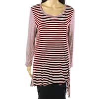 Oddy Burgundy Red Womens Size Large L Striped Side-Tie Knit Top