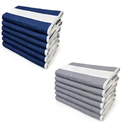 "Kaufman 6 Pack,Oversized Cabana Stripe Terry Beach Towel.Size 30""X 70"" - 30""x 70"""