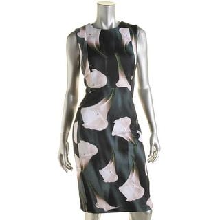 Calvin Klein Womens Floral Print Sleeveless Cocktail Dress - 8