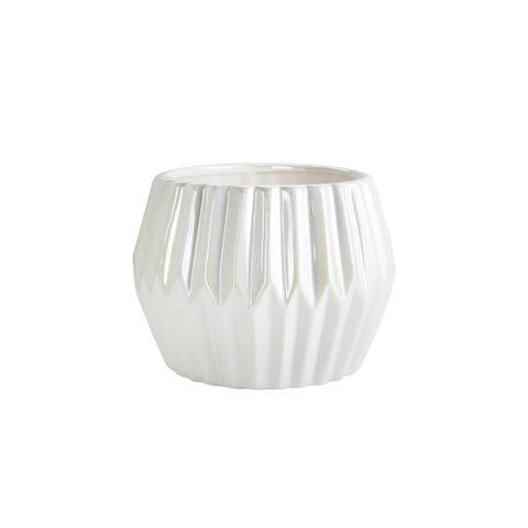 American Atelier 4.9 Inch Textured White Ceramic Succulent Planter