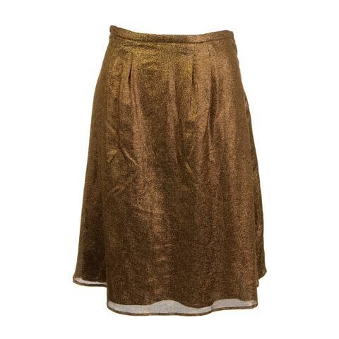 Rochas Womens Pleated Skirt Metallic Knee-Length - Gold - 38