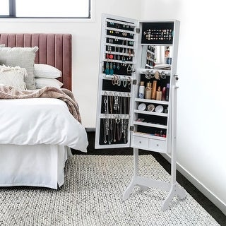 Full Mirror Floor Standing Jewelry Storage Adjustable Mirror Cabinet - 4Layers-2Drawer
