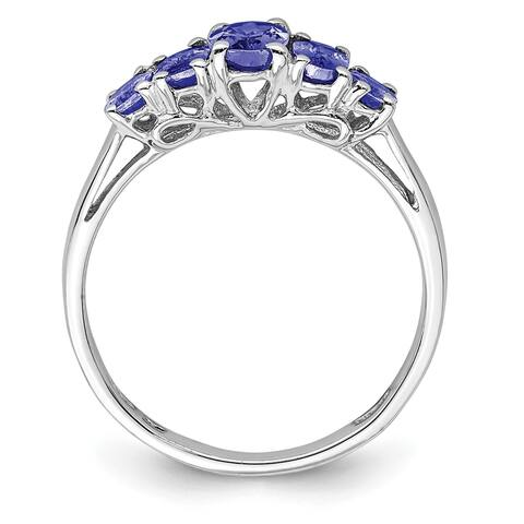 Sterling Silver Rhodium-plated 5 Stone Oval Tanzanite Ring by Versil