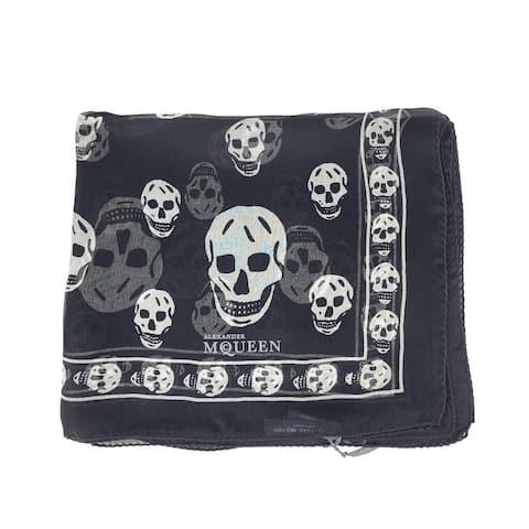 Alexander McQueen Women's Black Silk With Ivory Skull Print Scarf 110640 1078 - One Size