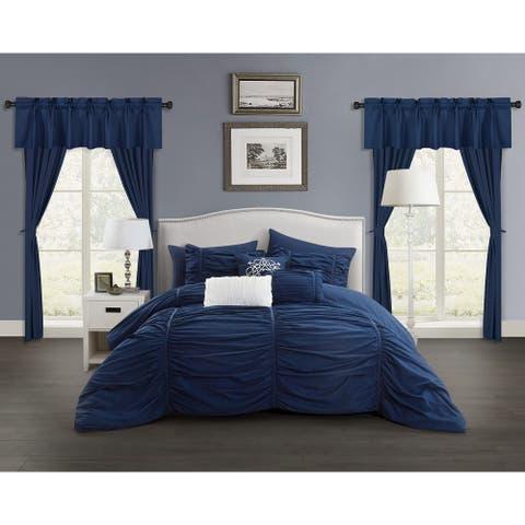 Chic Home Hallstatt 20 Piece Comforter Set Designer Bed in a Bag Bedding, Navy