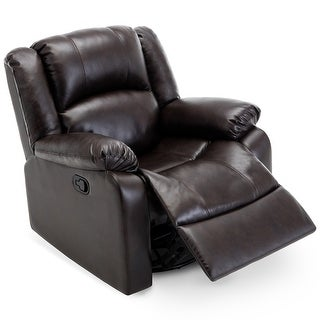 Belleze Rocker and Swivel Glider Recliner Chair Faux Leather for Living Room (Brown)