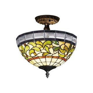 Landmark Lighting 131 Tiffany Two Light Semi Flush Ceiling Fixture from the Beveled Leaf Collection