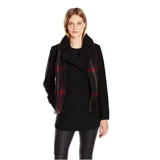 London Fog Double-Breasted Peacoat in Black Extra Large