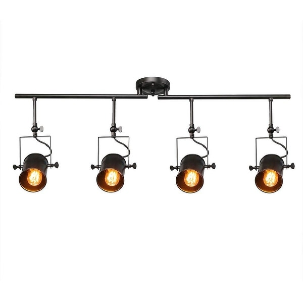 4 light industrial black track ceiling light. Opens flyout.