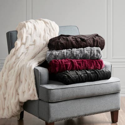 Madison Park Luxury Ruched Faux Fur Throw