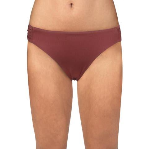 BCBGMAXAZRIA Womens Hipster Ruched Swim Bottom Separates - Apricot Blush - 4