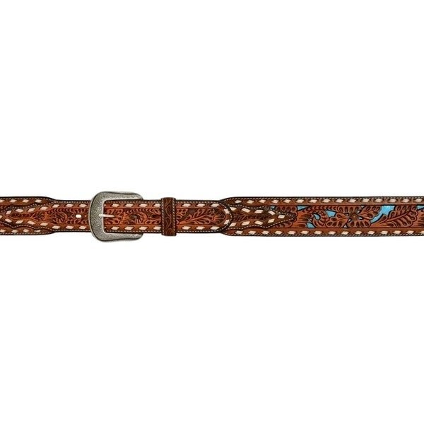3D Belt Mens Western Floral Metallic Inlay Buckstitch Natural