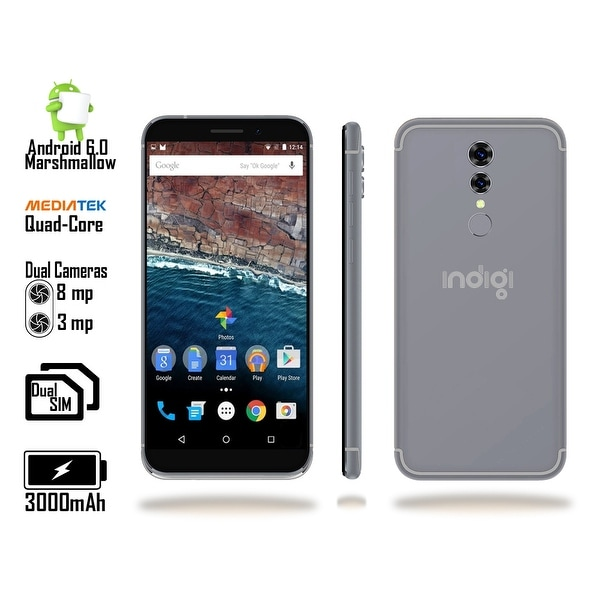 "Indigi® GSM Unlocked 4G LTE 5.6"" Smartphone (Quad-Core @ 1.2GHz + Android 6.0 Marshmallow + 2SIM + Fingerprint Scanner) Black"