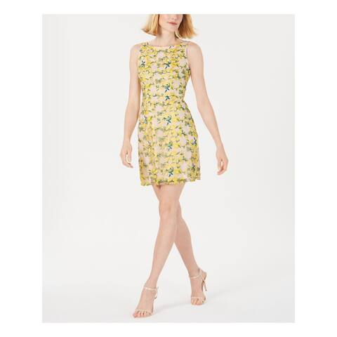 ADRIANNA PAPELL Yellow Sleeveless Above The Knee Dress 10