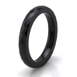 Black Ceramic 3mm Multi Faceted Stackable Ring