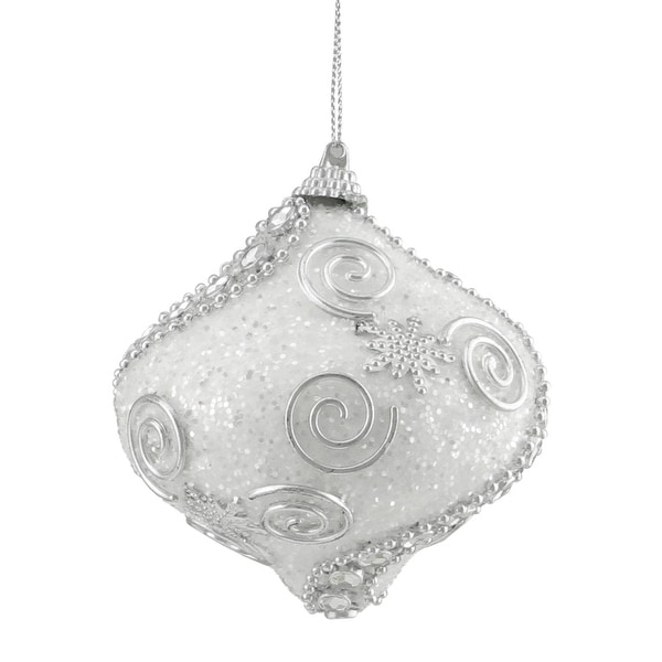 "3ct White and Silver Beaded and Glittered Shatterproof Onion Christmas Ornaments 3"" (75mm)"