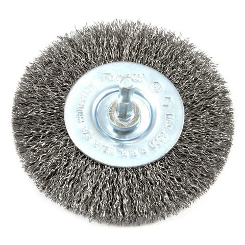 """Forney 72739 Stem Mounted Coarse Crimped Wire Wheel, 4"""" x 0.012"""", 1/4"""" Hex Shank"""