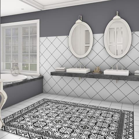 "SomerTile Majestic Orleans Cenefa Black Encaustic 9.75"" x 9.75"" Porcelain Floor and Wall Border Tile - Case (16 Tiles)"