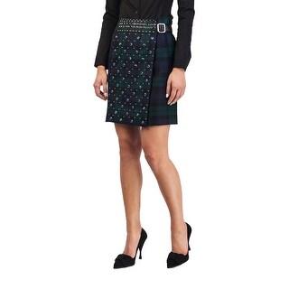 Prada Women's Wool Plaid Print Studded Skirt Green