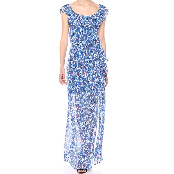 a755b181d7 Shop Nine West Blue Multi Women s Size 14 Printed Flounce Maxi Dress - On  Sale - Free Shipping Today - Overstock - 27787084
