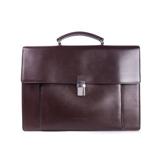 Brunello Cucinelli Mens Classic Large Brown Leather Briefcase