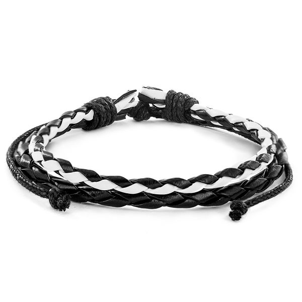 Black and White Braided Checkerboard Leather Bracelet (10 mm) - 7.5 in
